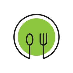 Healthy Food Logo With Plate Spoon And Fork Line Art - Poziriffoto Graphisches Design, Food Logo Design, Vector Logo Design, Logo Food, Icon Design, Modern Design, Graphic Design, Logo Restaurant, Resturant Logo