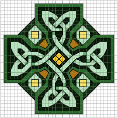 Celtic art cross stitch patterns.  Many half stitches, even some 3/4 stitches, and back stitches, but the pieces are small enough that it seems do-able.  the original page gives the same chart in blue tones, also.  Good symbols on the chart and floss numbers.