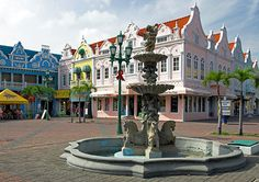 Dutch architecture reflects Aruba's Dutch colonial history in Oranjestad. Caribbean Vacations, Caribbean Cruise, Dream Vacations, Barbados, Aruba Honeymoon, Oranjestad Aruba, Southern Caribbean, Island Life, Places To Go
