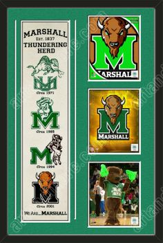 One framed Marshall University heritage banner with three 8 x 10 inch Marshall University photos of your choice, double matted in team colors to 22 x 34 inches.  The lines show the bottom mat color.  $189.99 @ ArtandMore.com