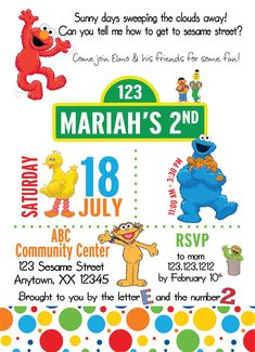 Perfect for any age and last minute birthday parties. NO hassle Designer kids birthday invitations.Elmo Birthday party invitations for kids, Invitations and announcements for kids birthday parties. Second Birthday Ideas, Twin Birthday, Friend Birthday, Elmo Birthday Invitations, Mickey Mouse Invitation, Elmo Party, Mickey Party, Dinosaur Party, Dinosaur Birthday