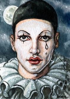 An ACEO painting of Pierrot. Pierrot is a sad character, naive, foolish and moonstruck. He loves Columbine but she leaves him for Harlequin, breaking his heart.