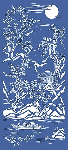 Chinese Stencils Chinoiserie Stencils Chinese Ravine Oriental Scene from Henny Donovan