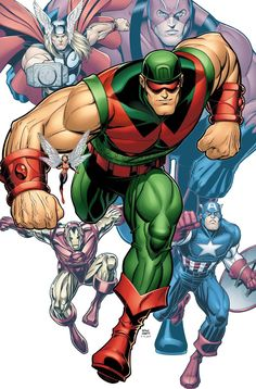 The Avengers and Wonder Man by Arthur Adams. This piece depicts the events in Avengers Masters of Evil create an agent to infiltrate and destroy the Avengers but Wonder Man turns against them. Marvel Comic Character, Marvel Comic Books, Comic Book Characters, Comic Book Heroes, Marvel Characters, Comic Books Art, Book Art, Epic Characters, Avengers Comics