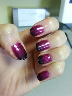 CND Shellac Tango Passion, glitter, and black additives pigment. Look created by CND Pro: Ann at Avante Hair and Day Spa in Kalamazoo,  MI.