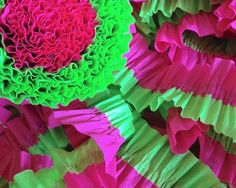 Bright Green and Bombay Pink Ruffled Streamers, 36 ft.