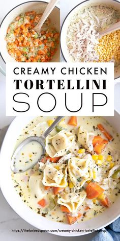 Chicken Tortellini Soup, Creamy Chicken Soups, Cheese Tortellini Recipes, Creamy Tortellini Soup, All You Need Is, Cooking Recipes, Healthy Recipes, Tasty Soup Recipes, Pasta