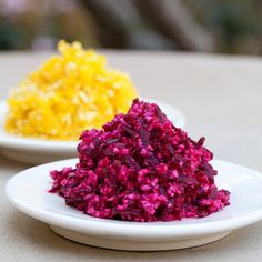 Beet Horseradish, a perfect side for a Passover meal!  And we've got fresh, local horseradish root in produce now.  Be sure to open a window when you put the root through your food processor, as it gives off a pungent gas.