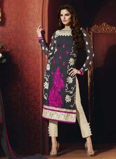 Glossy Black And Off White Faux Georgette Designer Pakistani Dress  http://www.angelnx.com/Salwar-Kameez