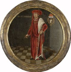 с.1460.Charles the Bold,Duke of Burgundy.Standing,facing left,at full-length on a tiled floor.He is wearing the robe of the Order of the Golden Fleece and the collar of that order around his neck.Coat of arms top right.With integrated frame.oil on panel.Diameter: 31 cm.Rijksmuseum Amsterdam. Anonymous.