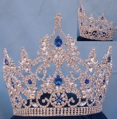 Large Pageant Blue Sapphire Crown (Adjustable)