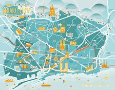 Map of Barcelona by Diana Stanciulescu for Conbook Verlag Barcelona City Map, Barcelona Guide, Barcelona Travel, Travel Maps, Travel Posters, Mental Map, Tourist Map, Country Maps, Travel Illustration