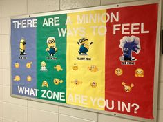 """There are a Minion ways to feel...What ZONE are you in?""  Speech Therapy - ZONES of Regulation Bulletin Board"