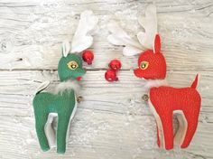 Reserved for Paul -Pair of Mid Century Glittering Red and Green Softie Deer