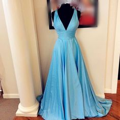 Simple Blue Prom Dress,Deep V Neck Prom Dress,Fashion Prom Dress,Sexy Party Dress,Custom Made Evening Dress