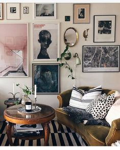 : When in doubt, gallery wall it out. See more via the link in our bio. (Home and Imag Decor, Living Room Inspiration, Gallery Wall Living Room, Room Inspiration, Living Room Modern, Interior, Modern Room, Living Room Wall, Furniture Store Front