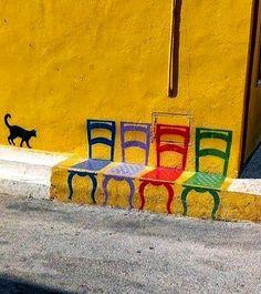 Cat walk.. Bilbao, Spain   street art
