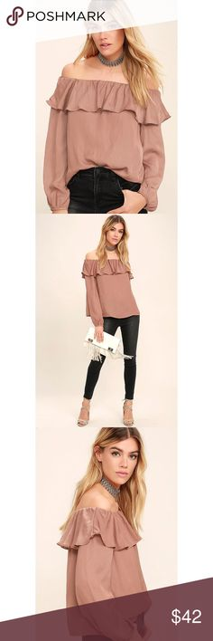 Dusty Rose Off Shoulder Ruffle Satin Top Make all your daydreams come true with the Someday, Somehow Rusty Rose Off-the-Shoulder Top! Sleek woven poly falls from an elasticized, off-the-shoulder neckline into a ruffled tier and relaxed bodice. Billowing long sleeves end in button cuffs. As seen on Lulu's. Original manufacturer tag attached.  Unlined. 100% Polyester. Hand Wash Cold. Imported. Lulu's Tops Blouses
