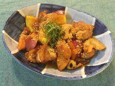 簡単*鶏とさつま芋と蓮根の甘辛炒め*の画像