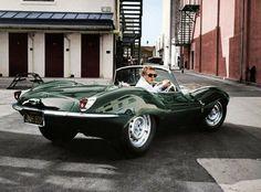 Steve McQueen in his 1957 Jaguar XK-SS.