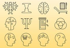 Psychology Line Icons Vector. Choose from thousands of free vectors, clip art designs, icons, and illustrations created by artists worldwide! Doodle Drawings, Doodle Art, Rorschach Inkblot, Psychology University, School Folders, Visual Note Taking, Psychology Studies, Study Inspiration, Design Inspiration