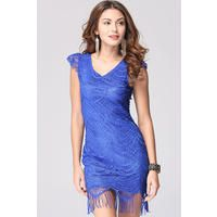 Unomatch Women Cup Sleeves Short Length Bodycon Dress Blue