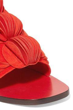 Slight heel Red suede Slip on Designer color: Tomato Imported