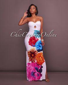 5d989e4eef8b Chic Couture Online - Mahana White Multi-Color Floral Print Maxi Dress