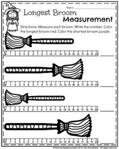 First Grade Math Worksheets for October - Witch's Broom Measurement.