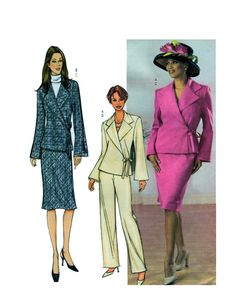Wrap Front Women's Suit Butterick 3712 Elegant Wide Lapel Crossed Bodice Fitted Blazer Aline Skirt or Trouser/Pants Size 12-14-16 UNCUT by FindCraftyPatterns on Etsy