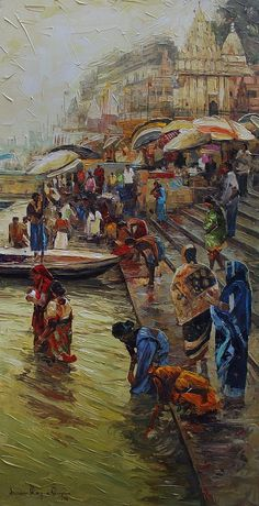 Buy Varanasi artwork number a famous painting by an Indian Artist Iruvan Karunakaran. Indian Art Ideas offer contemporary and modern art at reasonable price. Rishikesh, Varanasi, Paint Colors For Home, House Colors, Paint Colours, Indian Living Rooms, Indian Art Paintings, Scenery Paintings, Wood Wallpaper