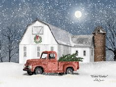 Home Cabin D cor Wintry Weather by Billy Jacobs Farm Barn Old Truck Christmas Trees Wreath Silo Full Moon Winter Seasons Framed Folk Art Print Picture Christmas Red Truck, Christmas Scenes, Christmas Pictures, Christmas Art, Vintage Christmas, Christmas Sketch, Magical Christmas, Country Christmas, Christmas Projects