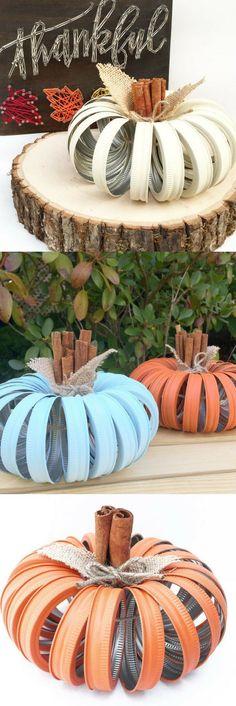 Mason Jar Lid Pumpkin, Rustic Fall Decor, Autumn, Pumpkin Home Decor, Fall Decor, Centerpiece, Fall Wedding, Farmhouse, Fall, Country Decor #ad #affiliatelink