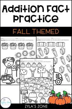 Math Fact Fluency Addition to 20 - Fall Thanksgiving Activities, Halloween Activities, Autumn Activities, Subtraction Activities, Addition Activities, Math Fact Fluency, Fluency Practice, Learning Tools, Fun Learning