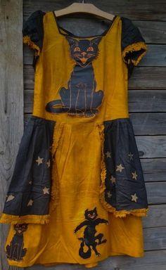 ICONIC ANTIQUE HALLOWEEN COSTUME DRESS 7 DIECUTS / PAPER STARS / PEPLUMS