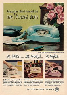 In the 1960s, Bell Telephone Systems marketed its Princess phone as a pretty, pastel addition to a bedroom, where a girl could gab with pals... #vintage