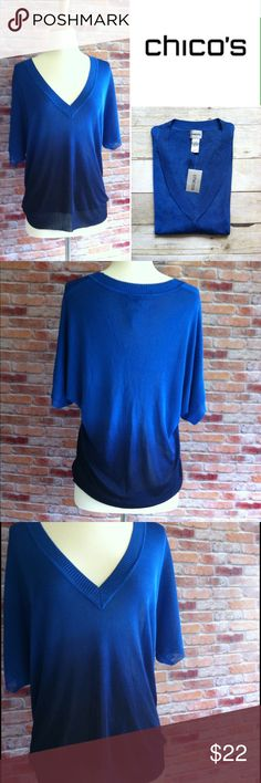 "NWT Chico's blue ombré deep V top This Vneck lightweight knit  is easy enough for everyday, but also strikingly stylish. New with tags. Deep V. Royal blue and navy ombré. 100% rayon. 27""L. 22"" across bust laying flat. Size 1 in Chico's sizing, fits like a medium or a size 8. Chico's Tops"