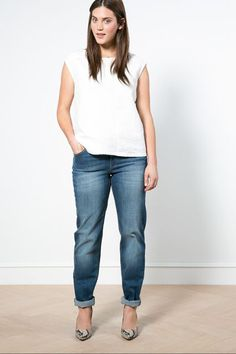 The Boyfriend Jean - I need to find a pair thats not so tight on my thighs so it looks appropriate http://www.refinery29.com/flattering-plus-size-jeans#slide-1