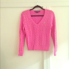 RALPH LAUREN SPORT PINK V NECK CABLE KNIT SWEATER Hot pink cable cotton knit sweater. Lime green polo insignia. Size medium. Ralph Lauren Sweaters V-Necks