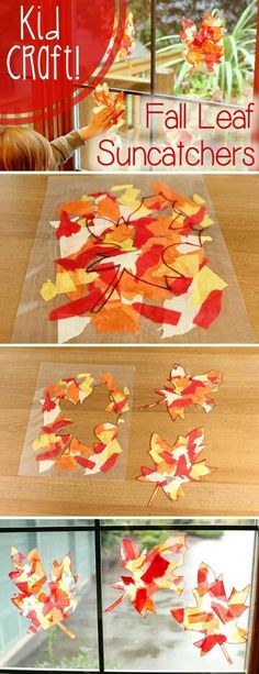 LOVE this craft! Fall color leaf sun-catchers that will brighten up your home while also being a fun craft for the kids. LOVE this craft! Fall color leaf sun-catchers that will brighten up your home while also being a fun craft for the kids. Fall Crafts For Kids, Craft Activities For Kids, Thanksgiving Crafts, Crafts To Do, Kids Crafts, Holiday Crafts, Craft Ideas, Leaf Crafts, Kids Diy