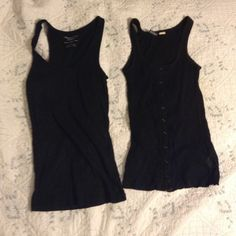 Two Black Tank Tops One is sparkly, and the other is button up. I've only worn them a few times. I'm open to offers and trades. I'll sell them individually for $5 each. Tops Tank Tops