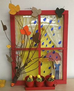 This would be a super cool weather chart for the classroom. Change the scene in the window as the weather changes. Autumn Crafts, Autumn Art, Thanksgiving Crafts, Diy Arts And Crafts, Paper Crafts, Diy Crafts, 4th July Crafts, Art For Kids, Crafts For Kids
