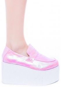 UNIF Pink Holographic Edge Flatform Creeper