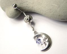 Cute Belly Ring, Man in the Moon Belly Button Jewelry, Silver Navel Ring on Etsy, $15.00