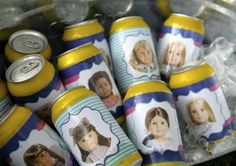 american girl doll party  {labels for water bottles or cans}