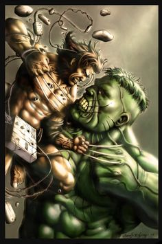 wolvie vs. hulk colored by The-Hand