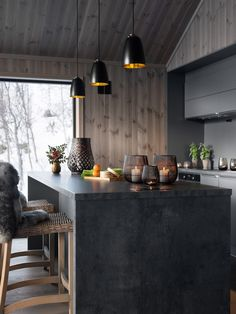 Ski Chalet, House Goals, New Builds, House In The Woods, Living Area, Kitchen Island, Rustic, Building, Cabin Ideas