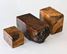 Boxes carved from raw forest wood from The General Store in San Francisco