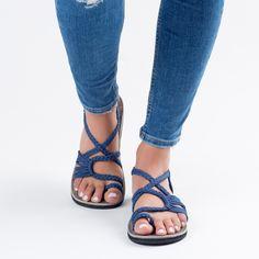 Saphire Blue Plaka Palm Leaf Sandals  #handmade #sandals #summer #fashion #blue
