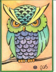 owl ACEO Original Painting by J. Burgess ATC miniature watercolor art card